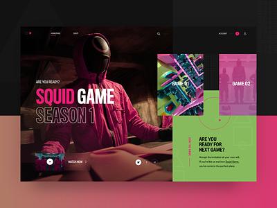 Squid game - landing page concept gameapp gameui website webdesign typography squidgame darkmode fashion landing page ui