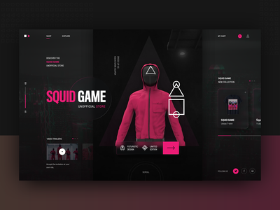 Squid Game store - homepage design concept darkui designtrend darkmode squid game squidgame typography modern ux ui