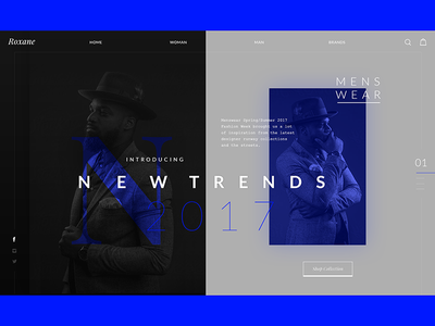 Roxane - fashion store - mens page - WIP layout modern fashion ecommerce concept