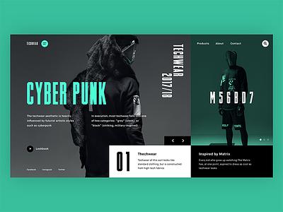 Techwear mondrianizm typography web layout clean ux ui modern webdesign