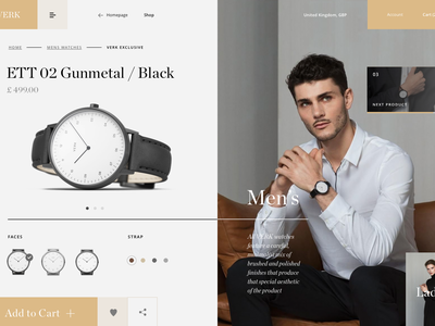 VERK Watches - Product detail page animation animation web ux ui typography mondrianizm modern watches fashion layout clean