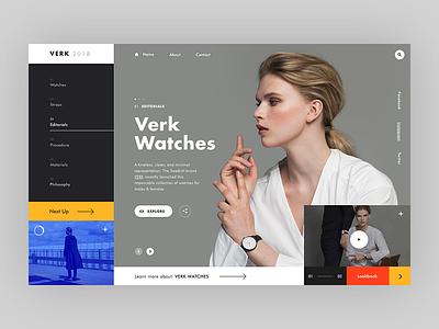 VERK Watches - alternative homepage ver webdesign web ux ui typography mondrianizm modern watches fashion layout clean