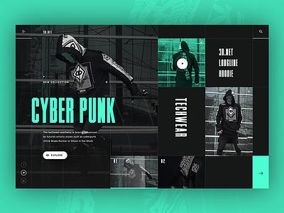 Techwear - alternative homepage ver web ux ui typography mondrianizm modern tech fashion layout clean