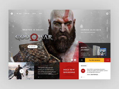 Kratos is back - god of war 4 web ux ui typography mondrianizm modern tech layout gaming game