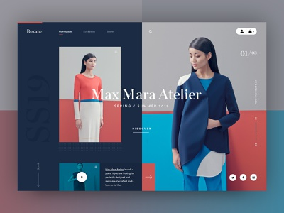 Roxane fashion store - alternative homepage ver 2 mondrianizm webdesign clean ecommerce ui ux typography modern fashion