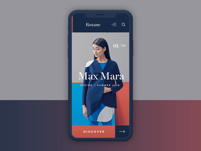 Roxane fashion store - interaction concept animation principle principleformac app typography clean fashion modern ux ui