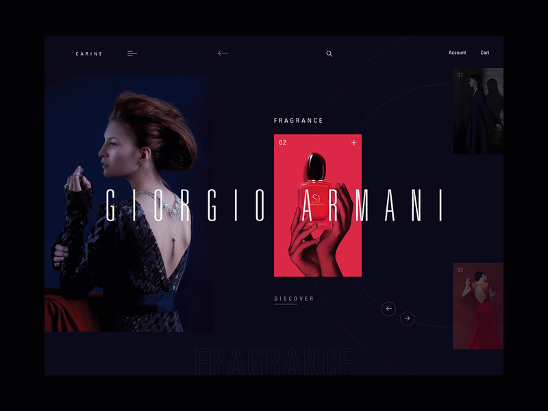 Carine fashion store - selection screen concept dark webdesign layout web clean typography fashion modern ux ui