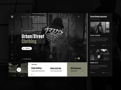 Urban/Street Clothing 2k19 webdesign dark clean typography fashion modern ux ui