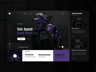 The Future Starts Here tech layout web dark background typography fashion modern ux ui
