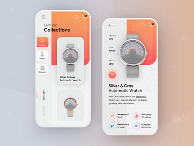 Anicorn watches redesign concept - mobile app mobile design iphone colorful gradient watches mobileui mobileapps mobile modern ux ui