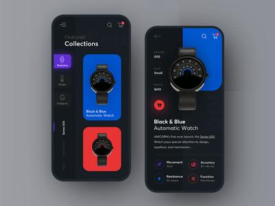 Anicorn watches mobile app - dark mode mobile mobileappdesign iphone modern watches mobileapps mobileui mobile app ux ui