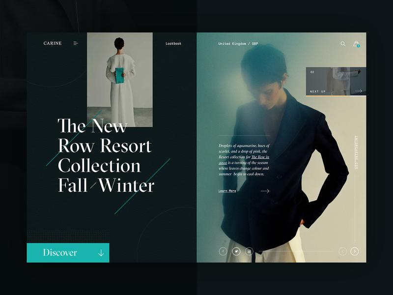 Carine fashion store - Resort FW 2020 web layout fashion clean typography modern ux ui