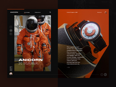 ANICORN X NASA watch ecommerce webapp typogaphy watches webdesign layout fashion ux ui