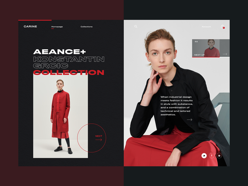 Carine fashion store - AEANCE Collection ecommerce web layout fashion clean typography modern ux ui