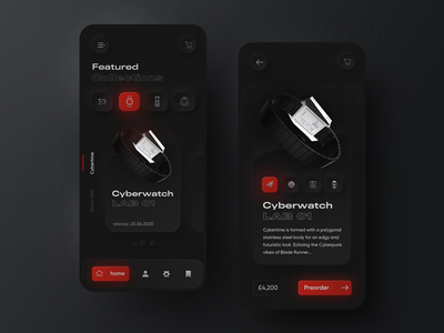 Skeuomorph Anicorn watches mobile app watches skeuomorphism skeuomorph darkmode mobileappdesign mobileapp app typography modern ux ui