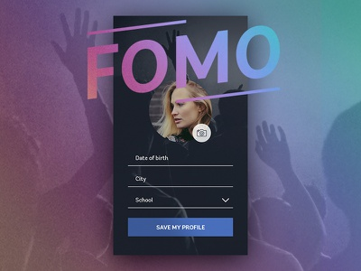Fear Of Missing Out colorful branding unsplash photo profile mordern dark flat app iphone login