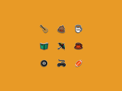 Pin ideas football controller 8ball coffee umbrella book tea poop guitar illustrations illustration badges pins