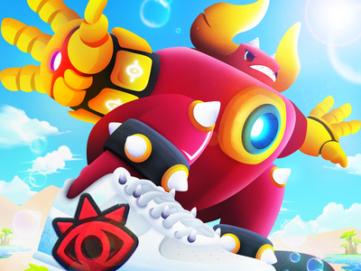 Skateboard Devil pokemon digitalart desert beach animation mobile game taurus ironman tron red devil