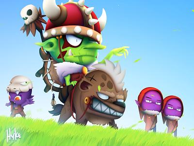 The Green Goblin green grass blue sky castle artwork game ui mobile art fantasy game goblins