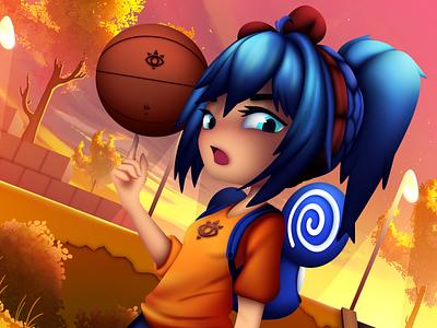 Gym Class Girl sunset shiro girl dribbble basketball anime girl animeart lil peep