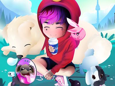 Lil Peep & Dogs anime art anime animation digital art artwork game art emo rap rapper lil peep