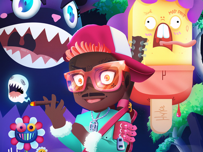 Trippy Lil Tracy flowers night forest trippy flower murakami bear game art mobile art ice cream rapper lil tracy