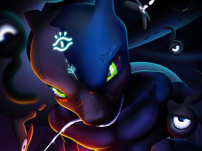 Dark Mewtwo game design game art mobile art artwork magic dark mode night owl ancient dark mewtwo pokemon