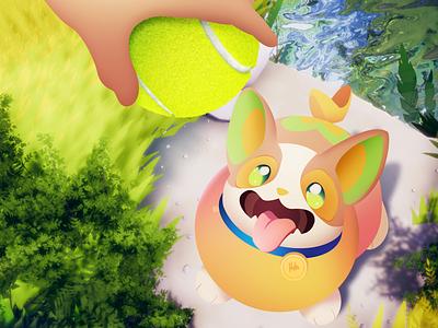 Training Yamper tennis ball tennis pokeball artwork training cute pet dog yamper pokemon