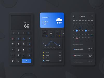 Neomorphic Ui App Set softui neomorphism weather calculator calendar darkui dark ux ui mobile design mobile app mobile interface figma design app