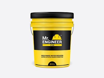 Mr.Engineer Bucket bangladesh admixture mr.engineer yellow bucket design mockup design illustration packaging branding graphic design