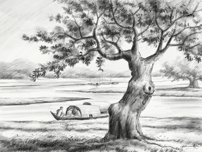 Landscape Pencil Sketch tree river nature bangladesh dribbbleart niceart cool artwork art sketching hand draw illustration landscape drawing sketch pencil sketch pencil