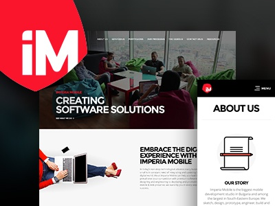 Edit Project Imperia Mobile Concept landing page responsive redesign game studio corporate website icon design web design