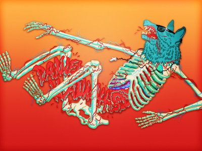 Wolf Skeleton debute wolf skeleton color bloody glasses invite illustration character design illustrator