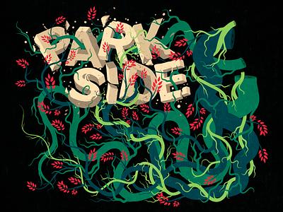 Parkside Wall Illustration version 2 plants illustration comic art artwork canvas wall typography