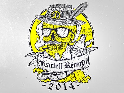 Pitch for Fearless Records skull summer illustration artwork beer