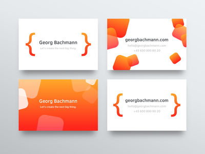 Business Card Design for Georg xcode code minimal colorful print business-card app-developer