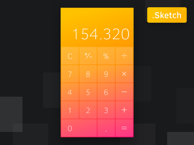 Calculator - Free Sketch File included download free sketch color interface ios mobile design ui