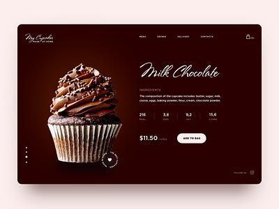 Sweet Chocolate Cupcakes made product landing website muffin food dailyui ui brown cupcake cupcakes deserts sweet eat mainpage main chocolate bar chocolate