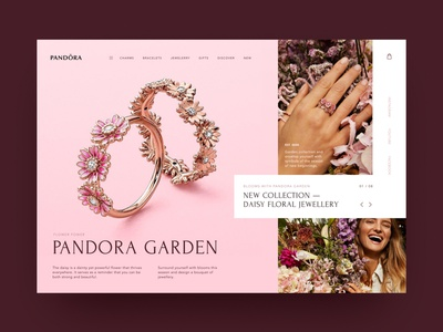 Pandora Garden — Jewelry woman website webdesign uxwebdesign uiwebdesign typography rose pink pandora layout grids landing jewelry grid daily creativity concept brilliant bracelets bijouterie