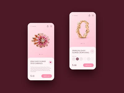 Pandora Garden — Jewelry | Mobile concept typogaphy typo pink woman bracelet jewelry mobile mobile ui mobile design main page concept creativity landing ux ui webdesign website