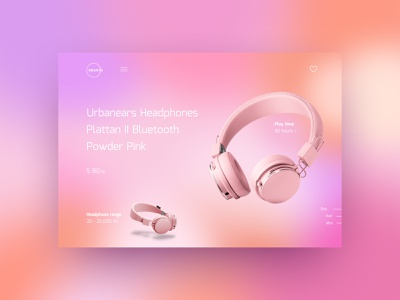 Gradient Headphones Concept #1 creativity woman pink technical concept gradient homepage daily webdesign website ux ui