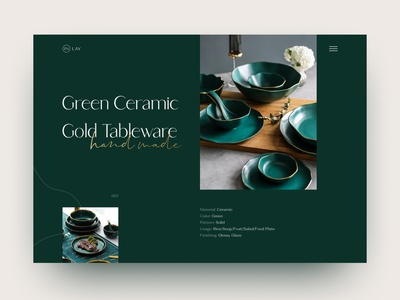 Concept Hand made tableware website typo typography landing woman female kitchenware handmade gold green ui concept tableware