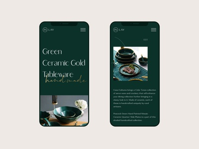 Mobile concept hand made tableware handmade website female gold green plate tableware kitchenware uidesign ui typography