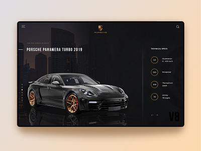 Concept for Porsche Panamera concept luxury black car typography illustration website webdesign web ui ux minimal main page landingpage landing homepage design daily creativity
