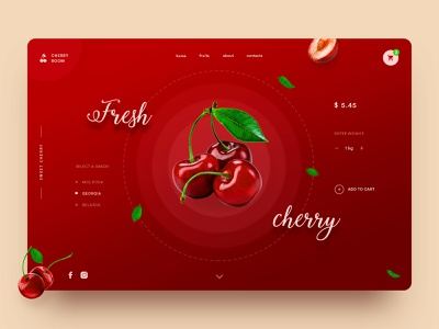 Sweet Cherry Concept red concept website webdesign web ux ui main page landingpage landing homepage design daily fruits cherryblossom cherry fruit creativity