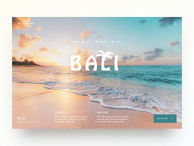 Bali one Love minimal concept website webdesign web ux ui main page landingpage landing homepage daily design creativity nature sea bali