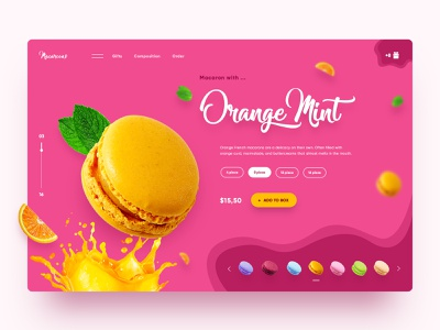 Macaroons Concept fruit macaroni macarons concept website webdesign web ui ux main page landing homepage daily creativity design desert