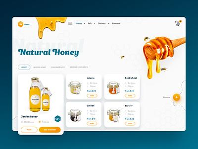 Natural Honey Bee Concept website webdesign web uxui ux ui ui ux mainpage bee natural landing homepage fruit creative design honey daily creativity concept