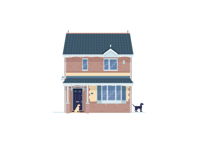 Home covid 19 self isolation lockdown pets dogs home house illustration illustrator