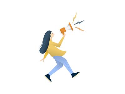 Recruitment Illustration minimal character art flat 2d design woman megaphone vector illustrations illustrator